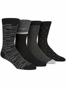 CALVIN KLEIN 4 Pack Black Assorteed Dress Crew Socks