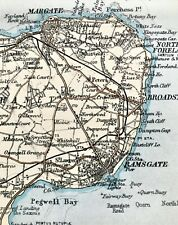 Antique Color Map : Thanet & East Kent, England : 100% Authentic 1930 Map Rare