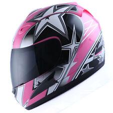 NEW DOT Motorcycle Full Face Helmet Street Bike Adult Lady Star Pink S M L XL
