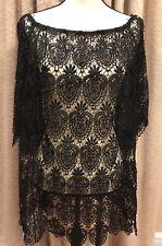 Blue Island Black Crochet Swimsuit Cover Up (SIZE L)
