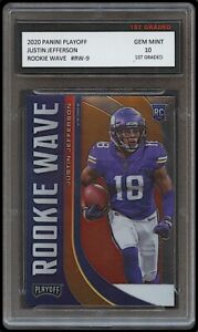 JUSTIN JEFFERSON 2020/'20 PANINI PLAYOFF ROOKIE WAVE 1ST GRADED 10 INSERT CARD