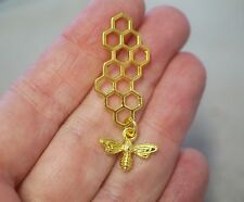 2 Bee and Honeycomb Charms - 46mm - Metal Gold Plated