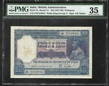 INDIA - Old 10 Rupee Note (1917/30)  P7b - PMG 35 Choice VF
