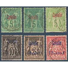 CAVALLE N°1 A 3 + 6-7 TYPE SAGE SURCHARGÉS, TIMBRES OBLITÉRÉS 1893-1900