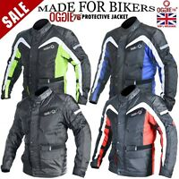 MENS MOTORCYCLE MOTORBIKE JACKET CORDURA WATERPROOF JEANS TEXTILE WITH PROTECTOR