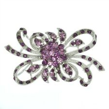 W Swarovski Crystal Purple Ribbon Flower Charm Brooch Pin and Pendant