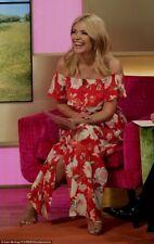 River Island Red Floral Bardot Summer Sun Maxi Dress - Size 6