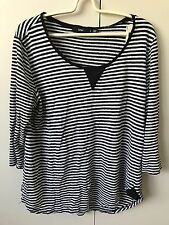 Sportsgirl Women's Knit Jumper Top SiZe S 8-10 Black N White 3/4 Sleeve
