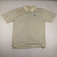 Mens Peter Millar Large Yellow Cotton Striped 3 Button Short Sleeve Polo Shirt