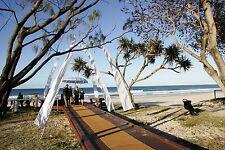 Beautiful White Bali Wedding flag Set Complete Pole/Mount Spike 1 set
