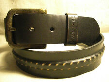 Marc Ecko Mens Black Genuine Leather Belt Size 36 w/ Raised Center
