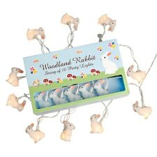 dotcomgiftshop STRING OF 10 SOFT GLOW WOODLAND RABBIT PARTY LIGHTS BS PLUG