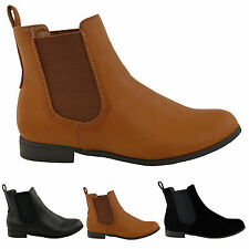 LADIES WOMENS ANKLE CHELSEA BOOT ELASTIC PULL ON RIDING HEEL SHOES SIZES