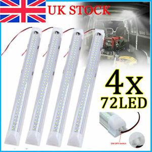 4x 12V Car Van Interior Light Strip Bar 72 LED Bus Caravan ON/OFF Switch 12 VOLT