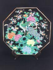 Antique Japanese Hand Painted Pheasant Blossom Floral Noir Octagon Decor Plate