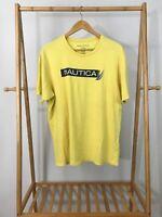 Nautical Men's Box Logo Spellout Sail Yellow Short Sleeve T-Shirt Size XL