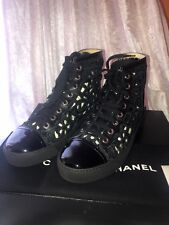 NIB CHANEL Floral Cut Out Hightop Sneakers Black Leather With Patent Tip Sz. 37