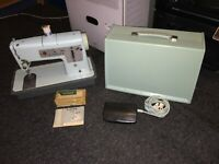 Vintage Retro Electric Singer Sewing Machine Model 348 Baby Blue Embroidery Case