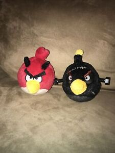 "Angry Bird Red Devil Red w/Black horns + Black W/ Bolts ""NO Sound"" Lot Of 2 READ"