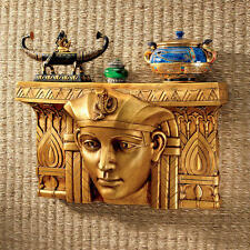 Egyptian Revival Style Pharaoh Rameses Gold Finish Sculptural Wall Shelf