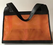 Auth CHANEL Orange Mesh Leather Strap Hand Bag with Pouch