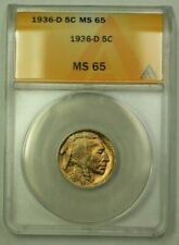 1936-D Buffalo Nickel 5c ANACS MS-65 (C) (WW)