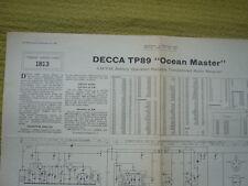 """Trader hoja de servicio No1813 Decca TP89 """"Ocean Master"""" AM/FM RADIO receptor 1967"""