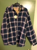 New XL Wrangler Sherpa Lined Flannel Shirt Blue Red Plaid Jacket Extra Large