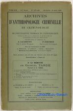 Archives d'anthropologie criminelle de criminologie n°127-128 Gabriel Tarde 1904
