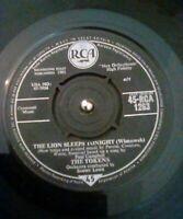 "The Tokens – The Lion Sleeps Tonight Vinyl 7"" Single UK RCA 1263 1961"