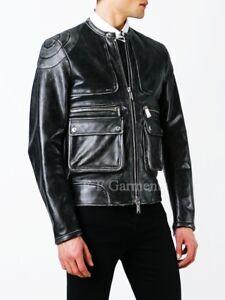 Men's Distressed Black Cafe Racer Retro Moto Biker Leather Jacket
