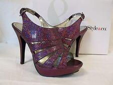 Style & Co Size 7.5 M Sierria Plum Glitter Open Toe Heels New Womens Shoes