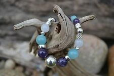Handmade necklace with Sterling Silver, Amethyst, White Jade (opaque)& Amazonite