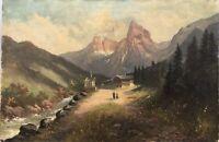 Ölgemälde 1911 Garmisch Patenkirchen? Alpenlandschaft mit Personen 54 x 80 cm