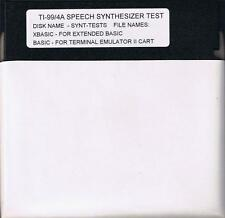TI-99/4A TEST YOUR SPEECH SYNTHESIZER USING THIS DISKETTE