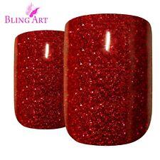 Bling Art False Nails French Manicure Red GEL Glitter Glossy Medium Tips UK