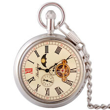 Antique Silver Moon Phase Tourbillon Mechanical Pocket Watch Chain Windup Gift