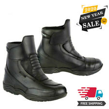 Motorcycle Motorbike Touring Boots Leather Waterproof Bike Riding Armoured Shoes