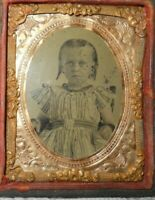 1/9th size Tintype of young child in a half case