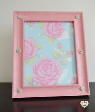 Pink Button Photo Frame Large Hand Painted Crackle Effect Hung On a Wall