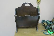 "Antique Vintage Wood Magazine Newspaper Holder Rack 11"" x 15"" x 17"" H"