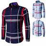 2019 Mens Grid Shirts Slim Fit Long Sleeve Blouse Tops Boys Stylish Dress Shirts