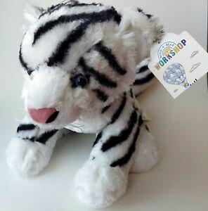 "Build A Bear Siberian Tiger Black White Plush Blue Eyes 14"" Soft Toy BAB w/tags"