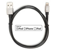 [Apple MFI Certified] CreatePros Lightning to USB Cable Black/Gray 1M Length