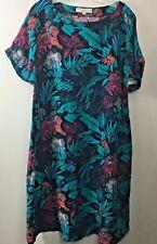 Hawaiian Dress Linen Blend Petite M L MuuMuu Aloha Pockets Ann Taylor Loft