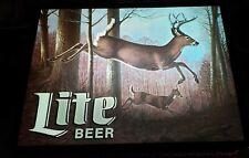 "Miller ""Lite Beer"" Buck & Doe Leaping Deer Scene 1990's Light Up Sign"