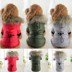 Warm Padded Dog Coat Jacket Pet Winter Hoodie Puppy Cat Small Clothes Outwear