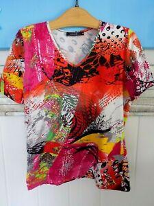 Damen T-Shirt , Bunt gemustert - Kurzarm Sommer Pulli von PASSPORT   Gr. 42