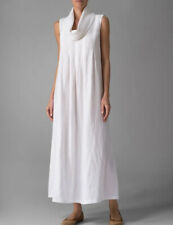 NWT Vivid Linen White Sleeveless Cowl Neck Long Dress  Size S
