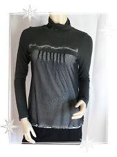 Haut T-shirt Fantaisie Gris Noir Tulle Cop Copine Modèle Cubane  T 1 - 36 / 38